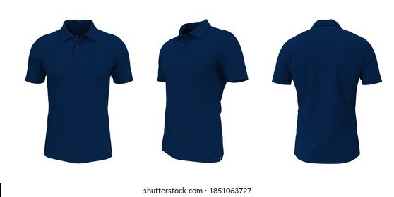 Blank collared shirt mock up in front, side and back views, tee design presentation for print, 3d rendering, 3d illustration