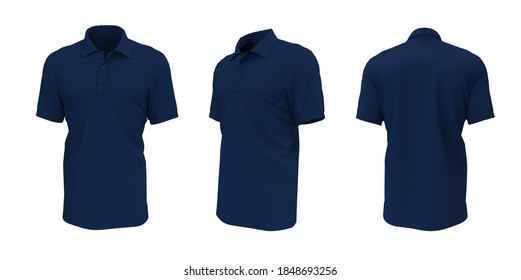 Blank collared shirt mockup, front, side and back views, plain t-shirt mockup, tee design presentation for print, 3d rendering, 3d illustration