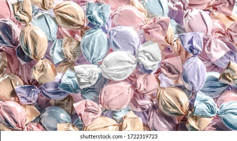 Blank colored hard candy foil wrapper mock up stack, 3d rendering. Empty caramel or dragee sweet-wrapper mockup heap. Clear fruit gumdrop with cellophane package mokcup template.