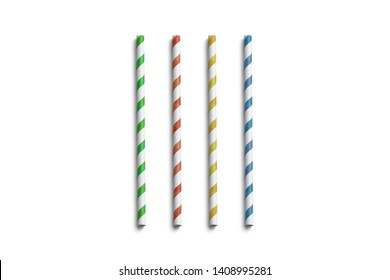 Blank colored paper straws mockup isolated, top view, 3d rendering. Clear coloured tubes mock up. Empty cardboard drink pipe for juice and water. Empty disposable eco-friendly soloma for restaurant.