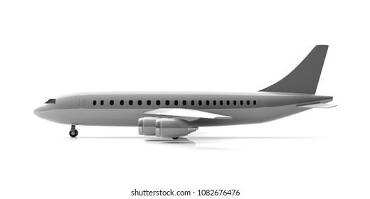 Blank commercial airplane with four engines, isolated on white background, side view. 3d illustration