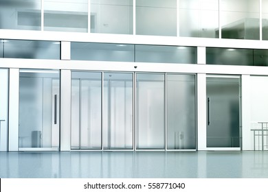 Blank commercial building glass entrance mockup, 3d rendering. Business canter closed entry mock up. City bank exterior outdoor template. Corporation facade architecture, front view.