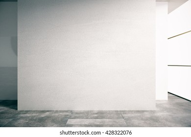 Blank concrete wall in empty interior. Mock up, 3D Rendering