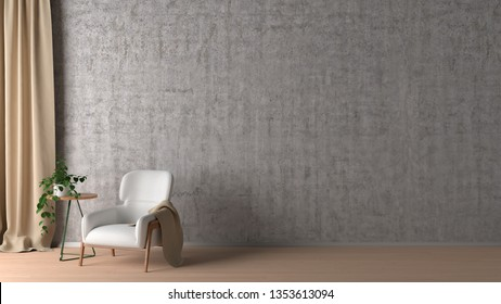 Blank concrete wall in living room interior mock up with flooring, white chair, plant, curtain. 3d render