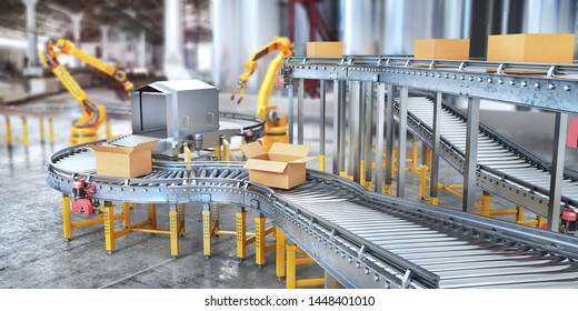 Blank conveyors on a blurred factory background. 3d illustration