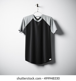 Blank cotton tshirt of black color hanging in center empty concrete wall. Clear label mockup with highly detailed textured materials. Square. Front side view. 3D rendering