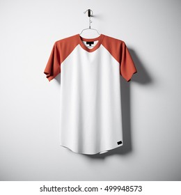 Blank cotton tshirt of white and orange colors hanging in center empty concrete wall. Clear label mockup with highly detailed textured materials. Square. Front side view. 3D rendering