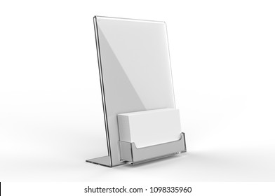 Blank Counter top Acrylic Business Card Display with Sign Holder. 3d render illustration.