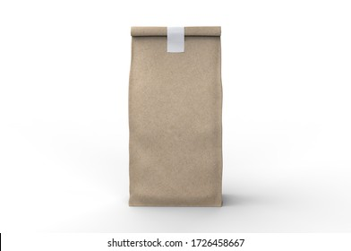 Blank Craft Brown Paper Bag Packaging For coffee beans, dry fruits and other food items. 3d render illustration.