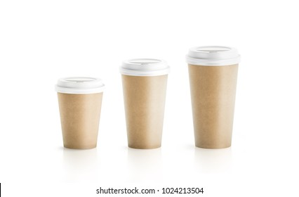 Blank craft brown paper cup mockup isolated, 3d rendering. Empty polystyrene coffee drinking mug mockup front view. Clear plain tea take away plastic package, cofe shop branding template