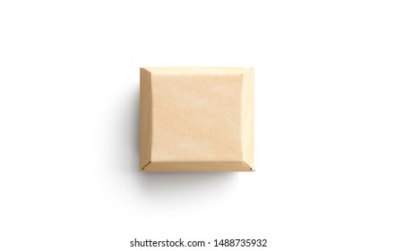 Blank craft burger box mock up, isolated, top view, 3d rendering. Empty square paper container for lunch mockup. Clear kraft wrapping for veggie sandwich or hamburger deliver template.