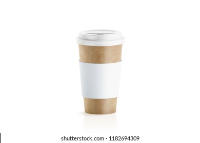 Blank craft paper cup with white sleeve holder mockup, 3d rendering. Empty coffe container with zarfs mock up. Clear disposable mug for cofe or tea. Take out pack with clutches isolated, logo branding