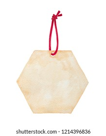 Blank craft tag with red rope, shaped as hexagonal cell. Hand drawn watercolour graphic painting on white, cut out clip art element for design, decoration, packaging, notes, letters, holiday gifts.