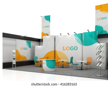 Blank creative exhibition stand design with color shapes. Booth template. 3D render
