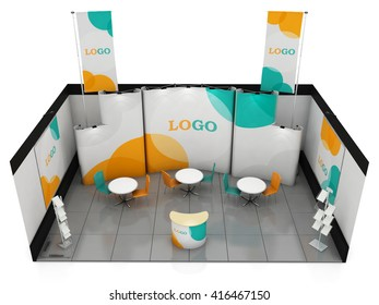 Blank creative exhibition stand design. Booth template. 3D render