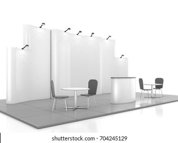 Blank creative exhibition stand design with color shapes. Booth template 01. 3D render
