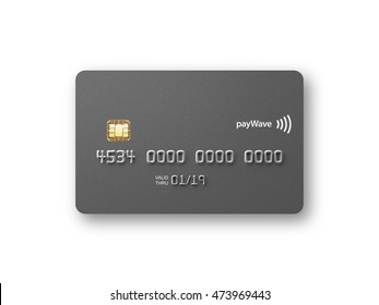 Blank credit card front straight on metallic grey 3D illustration