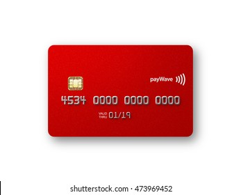 Blank credit card front straight on metallic red 3D illustration