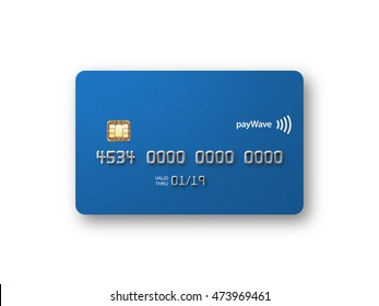 Blank credit card front straight on metallic blue 3D illustration