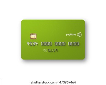 Blank credit card front straight on metallic green 3D illustration