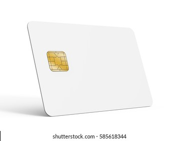 Blank credit card template, empty chip card for design in 3d rendering isolated on white background