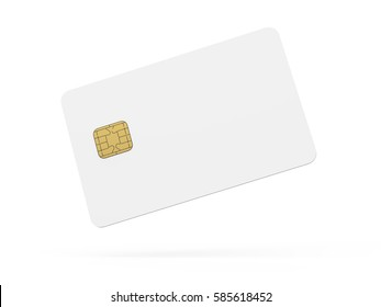 Blank credit card template, empty chip card for design in 3d rendering isolated on white background, card floating in the air