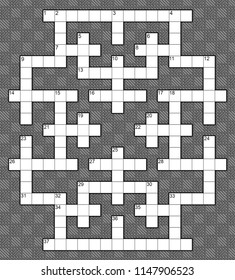 Blank crossword puzzle template for 37 numbers or 40 words against a background of diamond twill pattern. Black and white illustration.