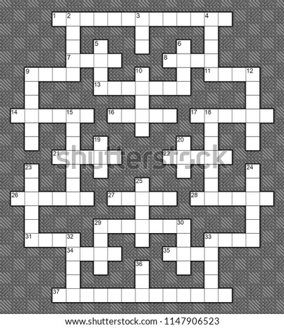 blank crossword puzzle template for 37 numbers or 40 words against a background of diamond twill