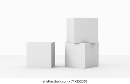 blank cubes composition mockup. 3D rendering