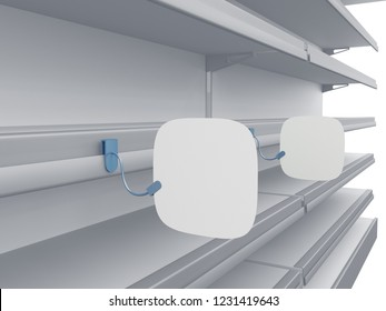 Blank Customizable Round Square Wobbler Or Stopper Attached To Supermarket Shelf. 3D render 3D render