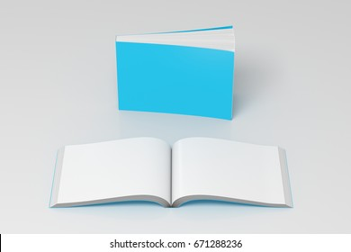 Blank cyan horizontal soft cover books open and standing on white background. Isolated with clipping path around each book. 3d illustration