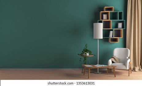 Blank cyan wall in living room interior mock up with flooring, white chair, lamp, coffee table, bookshelf, plant, curtain. 3d render