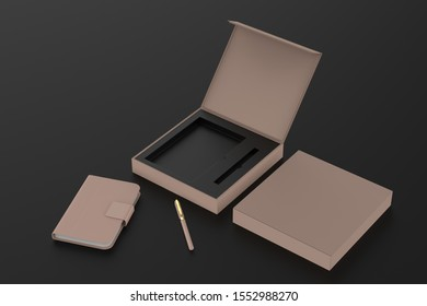 Blank dairy and pen set for branding and mock up. 3d illustration.