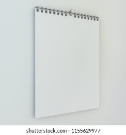 Blank design calendar template with on a background with soft shadows. 3D rendering