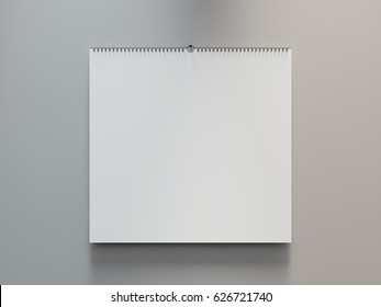 Blank design calendar template on a grey background with soft shadows. 3D rendering