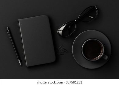 Blank diary, pen, cup of coffee, clips and glasses on black table 3D Render