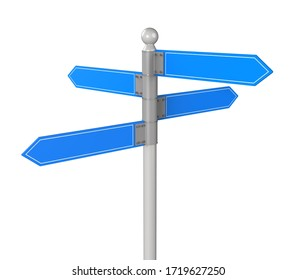 Blank directional road signs. Direction of movement. 3d illustration.