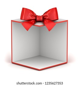 Blank display gift box backdrop or present box showcase with red ribbon bow isolated on white background with shadow 3D rendering