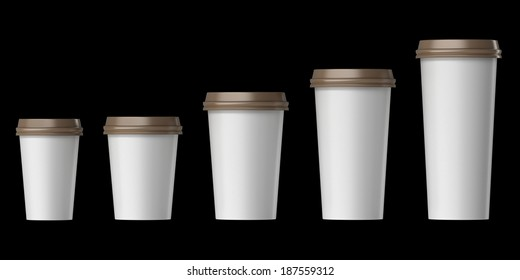 Blank disposable cup with cover, Extra, Small, Medium, Large, Isolated on black background.