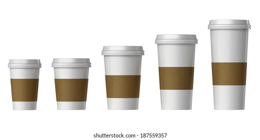 Blank disposable cup with cover and heat proof paper, Extra, Small, Medium, Large, Isolated on white background.