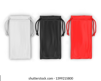 Blank Drawstring Pouch For Branding And Mock Up. 3d Render Illustration.