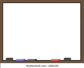 A blank dry erase board with wood trim.  Sitting on the bottom part of the trim are two grey eraser and three markers, black, red, and blue.