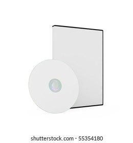 Blank DVD case and disc isolated on white background