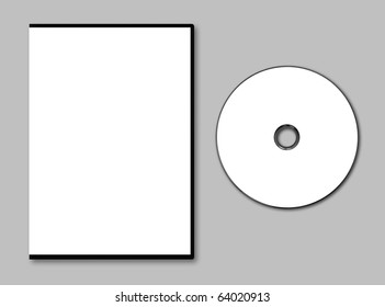 Blank DVD case and disc on gray background
