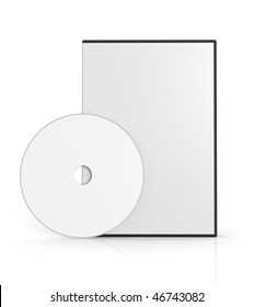 Blank DVD case on white background. Computer generated image.