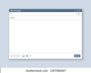 Blank email screen. Mail message interface blank mockup internet window computer, box page web software browser, illustration