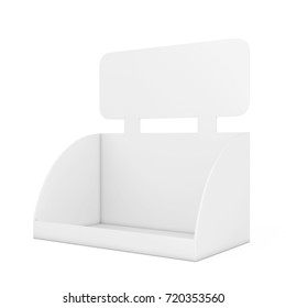 Blank Empty Box Display for Products Promotion with Copy Space for Yours Design on a white background. 3d Rendering