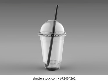 Blank Empty Disposable Plastic Milkshake Cup With Lid and straw. Transparent. Container For Cold, Hot Drink. Juice Fresh, Coffee, Tea. 3d render Illustration Mock Up Template Ready For Your Design.