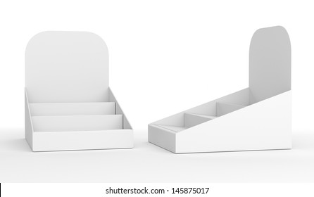 blank empty holder or box display for products isolated on white. 3d render