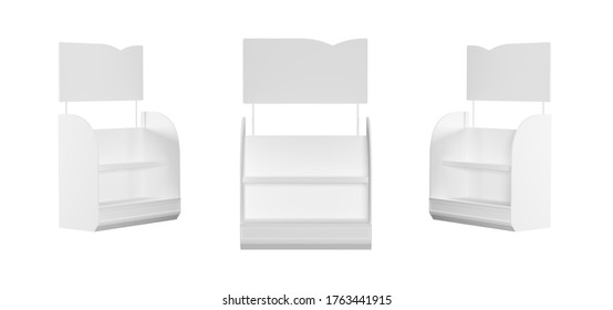 blank empty holder or box display for products from front isolated on white. 3d render